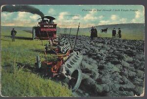 1912-Reeves-Steam-Tractor-Plowing-Virgin-Prairie-POSTCARD