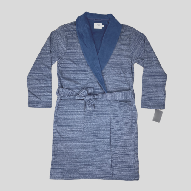 Mens Plus Size Shawl Collar 100/% Cotton Woven Robe with Pockets,L//XL,Blue