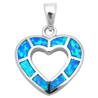 Blue Opal Heart Gift Charm .925 Sterling Silver Pendant Necklace on Sale