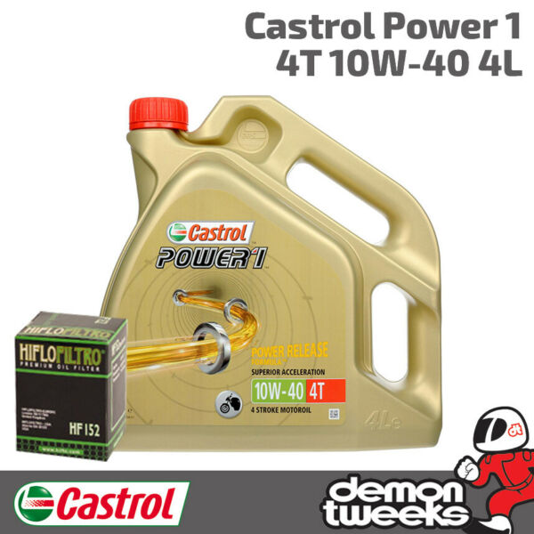 4l Castrol Power 1 10w40 Oil & Hiflow Filter For Kawasaki 2009 Zx10r E9f Hf303 Snelle Kleur