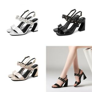 Womens-Floral-Slingbacks-Leather-High-Heels-Peep-Toes-Sandals-Casual-Shoes