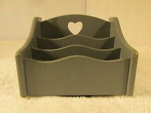 Wood lazy susan letter holder country blue cut out heart - Lazy susan desk organizer ...