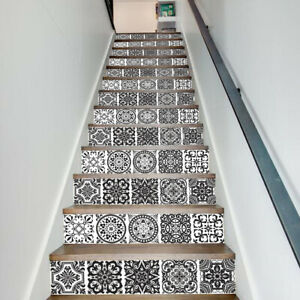 13Pcs Staircase Stickers Stair Riser Mural Vinyl Wall Tiles Decals Self Adhesive