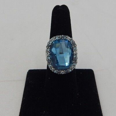 NWT Brighton CONTESSA Blue Silver STATEMENT Size 8 Ring MSRP $82