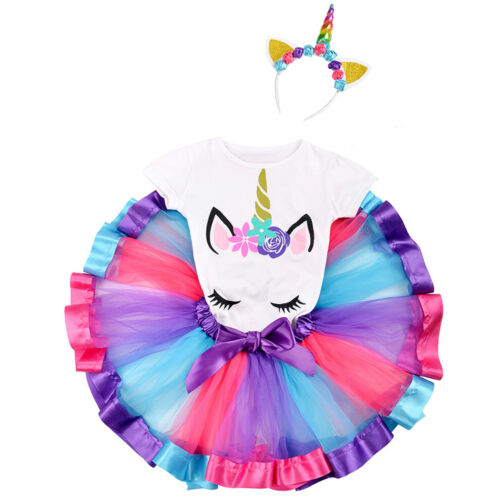 Unicorn Party Birthday Cake Smash Costumes Tutu Fancy Dress Outfits for Girls