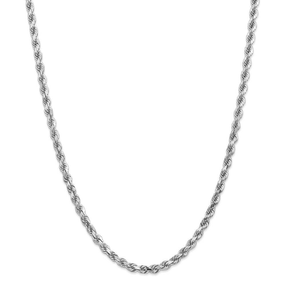 14k White gold 5mm Solid Diamond Cut Rope Chain w  Lobster Clasp 18  - 30