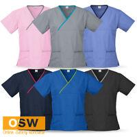 Ladies Contrast Hospital Medical Nursing Dental Crossover Soft Scrub Top Shirts