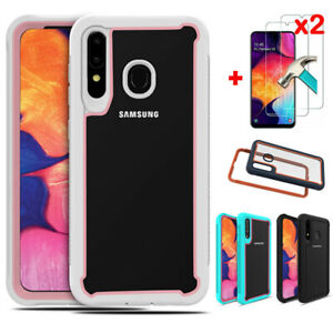 For-Samsung-Galaxy-A20-A10-A50-Rugged-Clear-Case-Hybrid-Cover-Screen-Protector