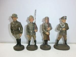 Convoluté 4 Vieux Elastolin Soldats En Masse Stillgestanden Avec Sergent