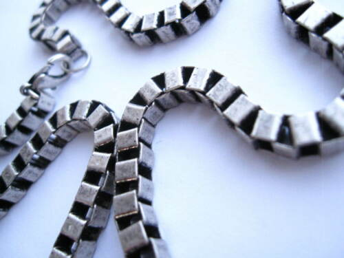 """square linked choker chain Cube silver link 18/"""" necklace"""