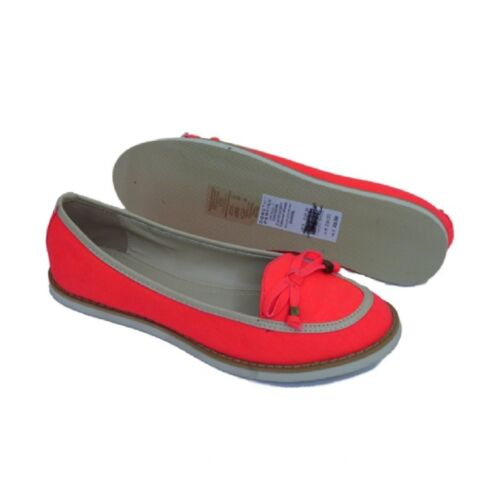 Women Neon Orange Fabric Flat Moccasins Loafers Pumps Ladies Sizes 3 4 5 6 7 8