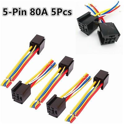 Universal 5pcs 12//24V 5-Pin 80A Car SUV Wire Relay Socket Harness Connector Kit