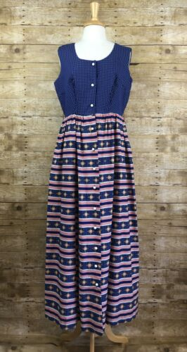 Vintage Keyloun 70s Womens Size 16 Dress Maxi Polk