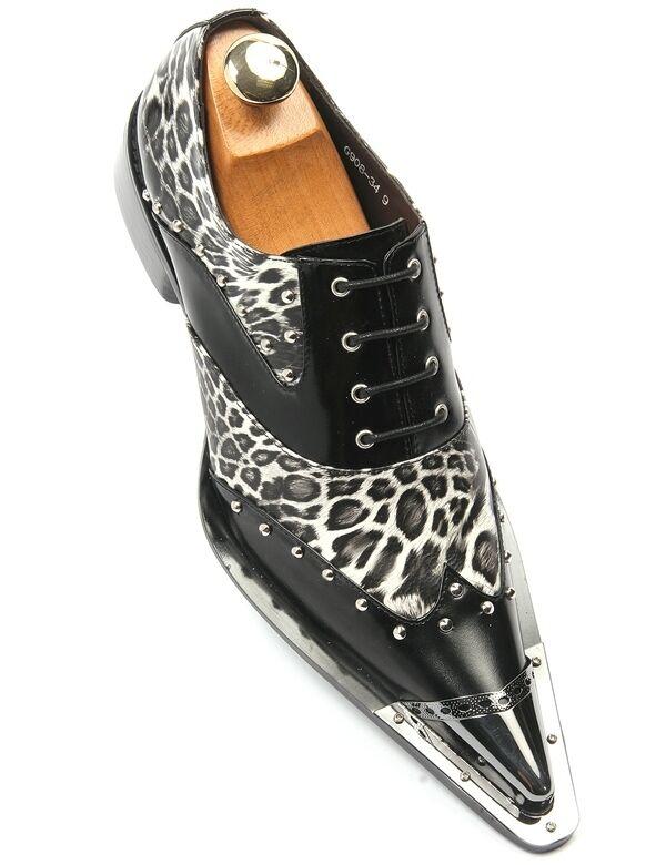Vestido De Fiesta Zota Hombre Negro Cuero Leopardo Estilo Europeo Point Toe Laceup Zapato