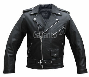 Terminator Style Mens Black Leather Marlon Brando Biker Motorcycle Jacket
