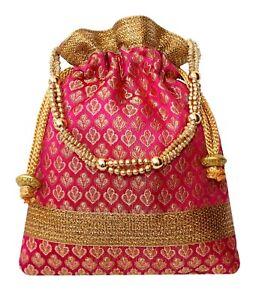 Image is loading Rich-Brocade-Potli-Bag-Indian-Ethnic-Drawstring-Handbag-