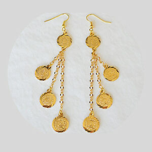 Coin Earrings Drop Dangle Middle East Arabic Jewelry 24k Gold Plated