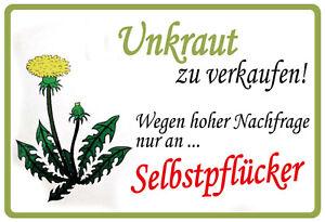 Mauvaise-Herbe-a-Selbstpflucker-Panneau-Metallique-Plaque-Voute-Etain-Signer