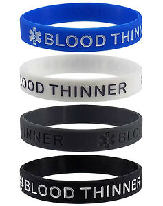 BLOOD-THINNER-Medical-Alert-ID-Silicone-Bracelets-Adult-Size-4-Pack