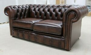 NEW-CHESTERFIELD-TUFTED-BUTTONED-2-SEATER-SOFA-COUCH-REAL-VINTAGE-BROWN-LEATHER