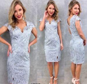 Lace Dress Wedding Mother Bride Dress In Grey Size 10 Ebay