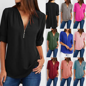 Womens-Short-Sleeve-V-Neck-Zip-Up-Chiffon-Tops-Casual-Blouse-Loose-Tunic-T-Shirt