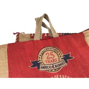 039-Celebrating-25-Years-America-039-s-1-Basmati-039-Empty-20-LB-Rice-Burlap-Bag-Zip-Tote