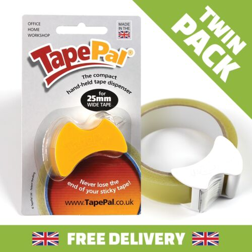 GIFT WRAP TAPE DISPENSER X 2 TAPEPAL TWIN PACK OFFICE SELLOTAPE SMALL HAND HELD