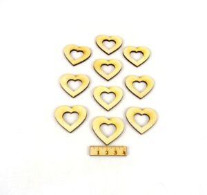 Herz mit Herzauschnitt aus Holz Geburtstag Dekoration Hochzeit Holzherzen 4cm