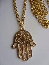 "A Lucky Evil Eye, Hamsa Hand Tibetan Glod Charm 34mmx20mm Long 30""Chain Necklace"