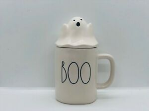 Rae-Dunn-Halloween-By-Magenta-Ivory-BOO-Mug-With-Ceramic-White-Ghost-Mug-Topper