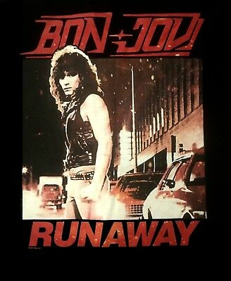 BON JOVI cd cvr FIRST ALBUM / RUNAWAY Official Black SHIRT XL new