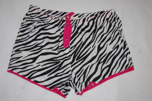Womens Sleep Shorts BLACK WHITE ZEBRA PRINT Pink Trim S M L PLUS SIZE 1X 2X 3X