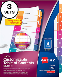 Avery Customizable Table of Content 8-Tab Dividers for 3 Ring Binders Classic