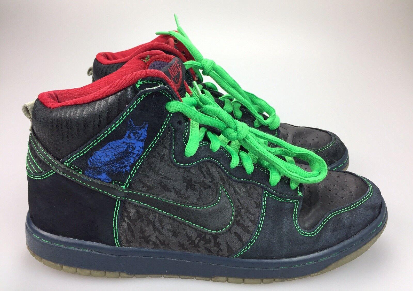 2008 Nike Dunk High Premium SB Twin Peaks Night Owl Black bluee 313171-006 Men 10