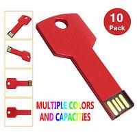 10x 1g/2g/4g/8g Metal Key Model Usb 2.0 Flash Drive Memory Sticks Thumb Drives