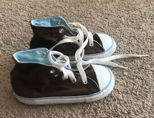 c51832301626 Used Unisex Brown Baby blue Trim High Top Converse All Stars ...