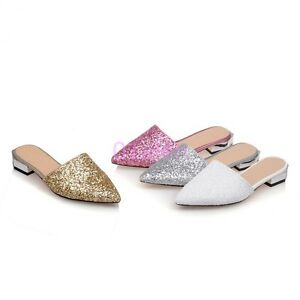Womens Pointy Toe Flat Dress Party Sequins Bling Bling Mule Shoes ... 8ad49cf49437