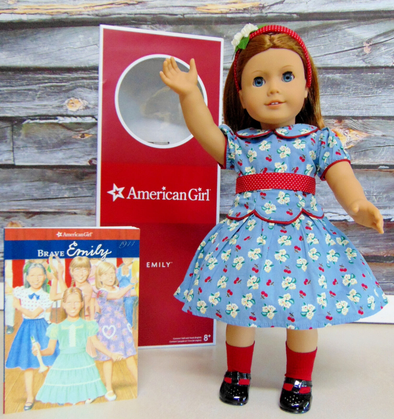 American Girl Emily Muñeca Molly Amigo Pelo Rojo Azul Eyes Conocer Conjunto Book