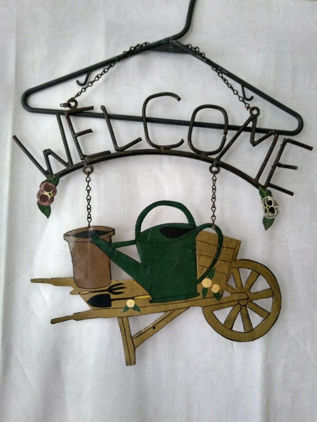 Primitive Rusted Metal Welcome Hanging Sign with Flower Cart Watering Can Tools