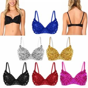 7624c5217f281 Women Sparkle Sequins Beading Padded Bra Top Belly Bralette Rave ...