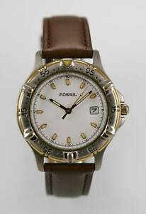 Relic Watch Mens Brown Leather Stainless Steel Silver Gold 30m Black Quartz
