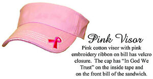 Ladies-Pink-Ribbon-Cancer-Awareness-Visor-Woman-Sport-Rockpoint-Custom-embroider