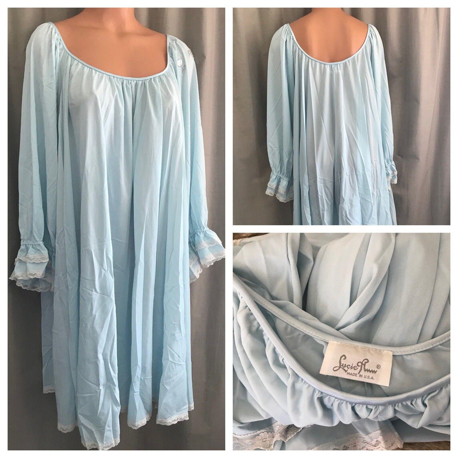 Vintage Lucie Ann Nightgown Powder Blue Nylon Bab… - image 1