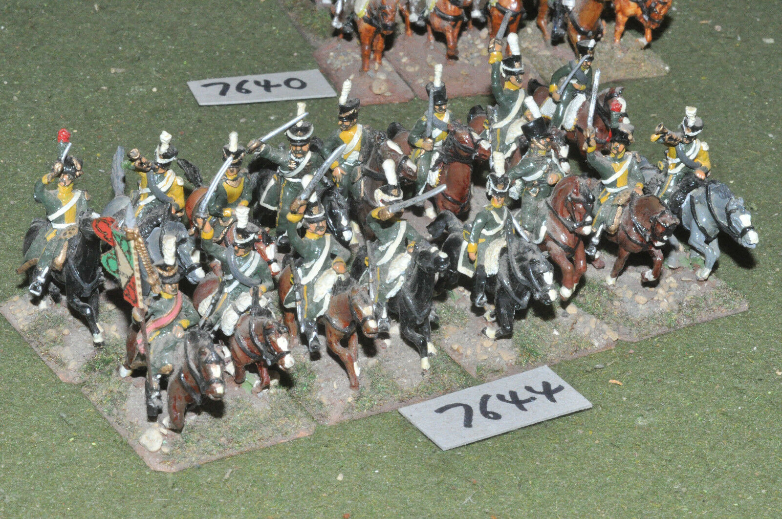 25mm napoleonic   french - chasseur a cheval 16 cavalry metal - cav (7644)