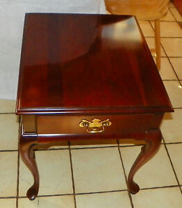 Details About Solid Cherry End Table / Side Table With Drawer By Gordons  (T438)