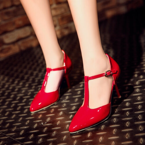 Womens Patent Leather Pointed Toe T-Strap Elegant OL Pumps High Heel Shoes Vogue