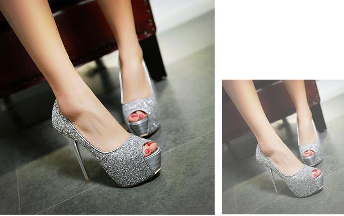 Stiletto Scarpe decolte eleganti donna spillo plateau 13.5 argento strass 8552