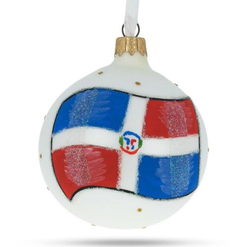 Flag of Dominican Republic Glass Ball Christmas Ornament