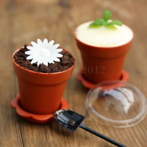eBay & Details about Flower Pot Shape Muffin Cupcake Case Baking Cup Cake Mold Set With Spoon Lid